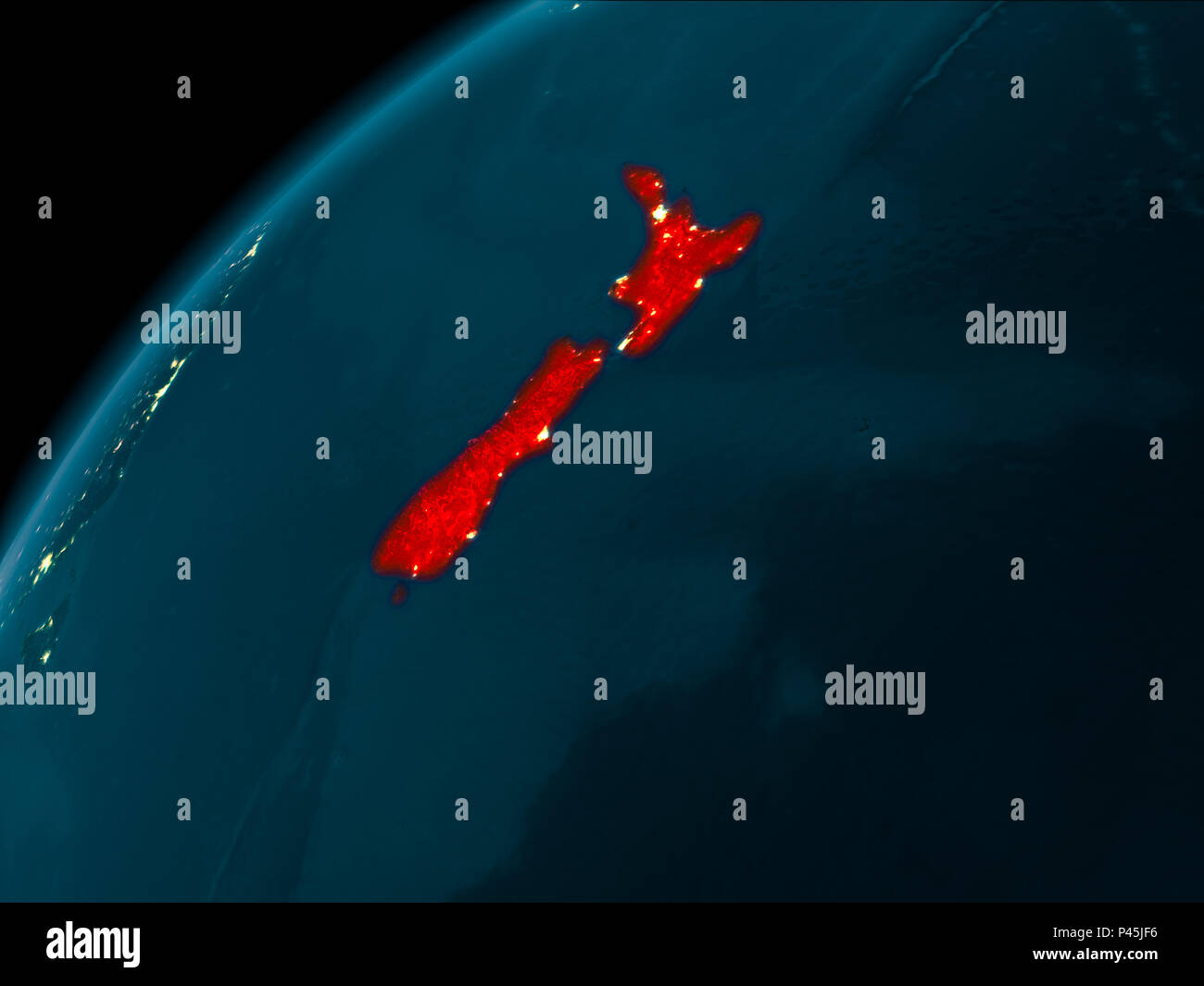 3d Map Of New Zealand.Night Map Of New Zealand As Seen From Space On Planet Earth 3d
