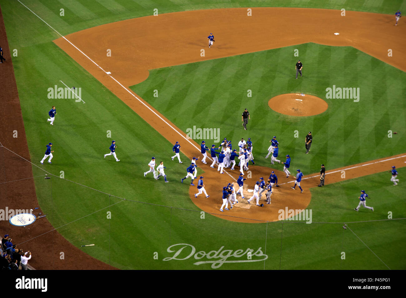A fight erupts during Dodgers game at Dodger Stadium in Los Angeles,CA - Stock Image