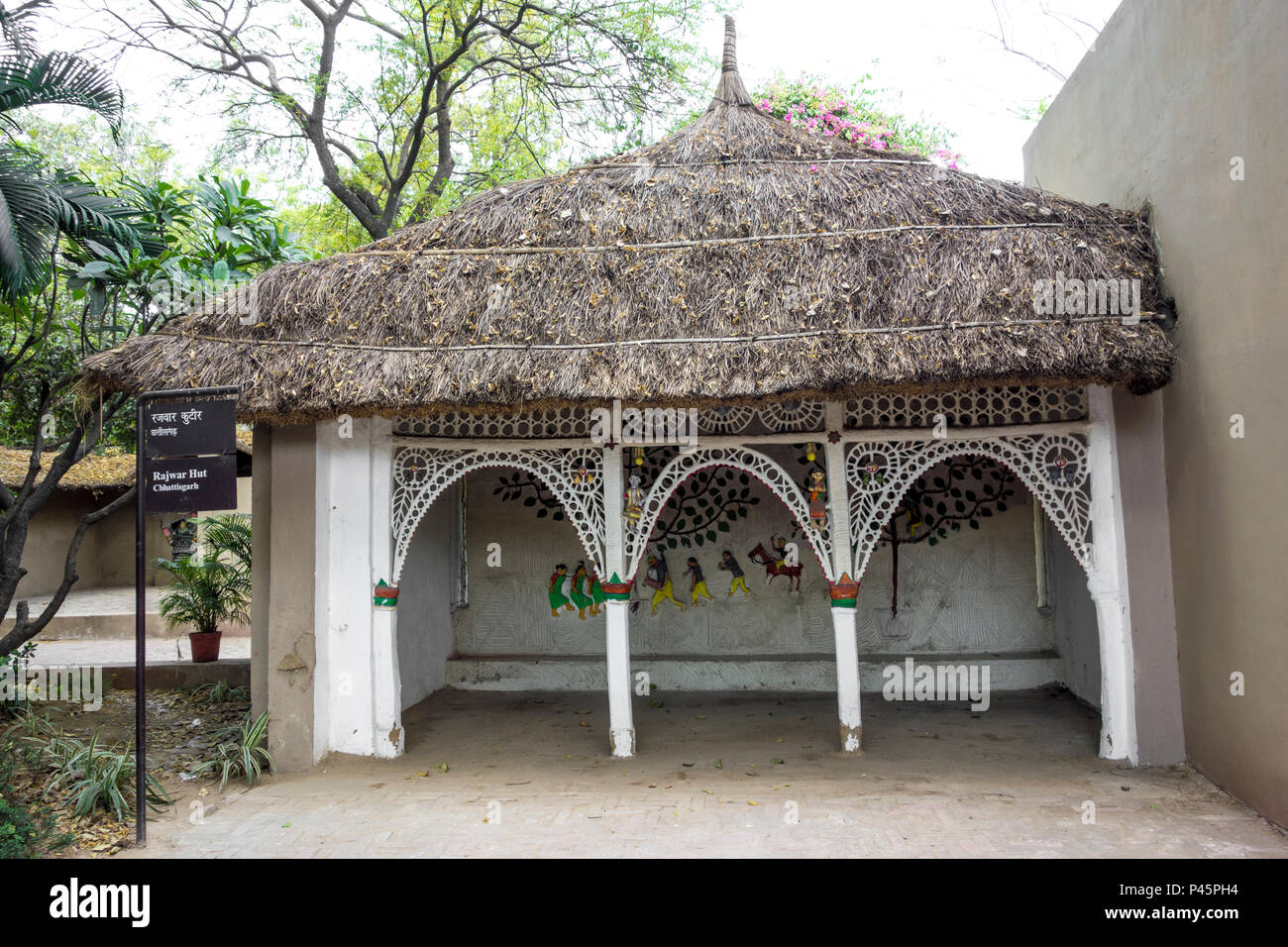 Exhibit of a Rajwar hut from Chhattisgarh in the National Crafts Museum, New Delhi, India - Stock Image