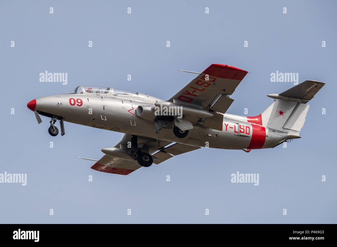 The Aero L-29 Delfín (English: Dolphin, NATO reporting name: Maya) is a military jet trainer developed and manufactured by Czechoslovakian aviation ma - Stock Image