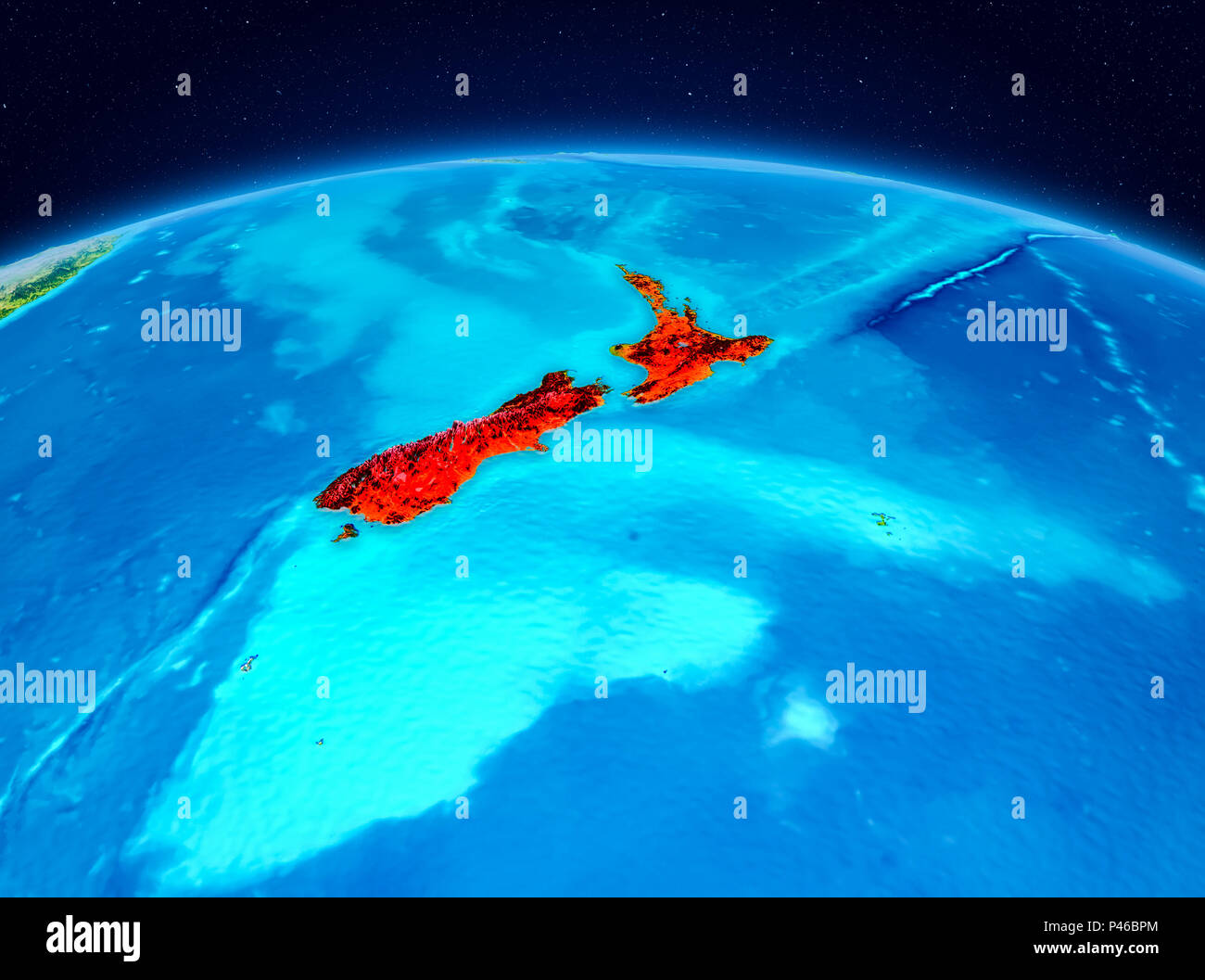 Satellite view of New Zealand highlighted in red on planet Earth. 3D illustration. Elements of this image furnished by NASA. - Stock Image