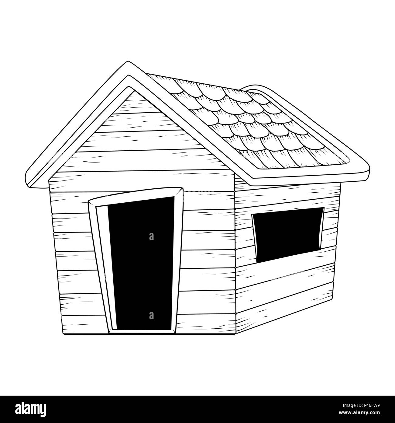 wooden house outline vector design isolated on white - Stock Vector
