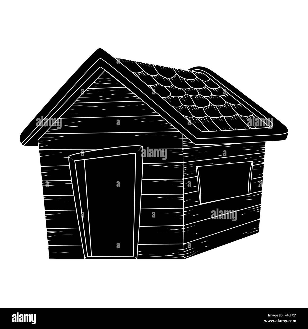 wooden house silhouette vector design isolated on white - Stock Vector