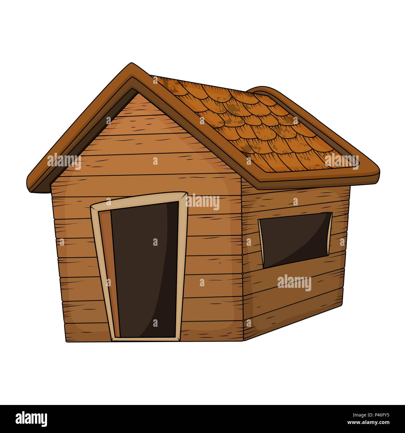 wooden house cartoon vector design isolated on white - Stock Vector