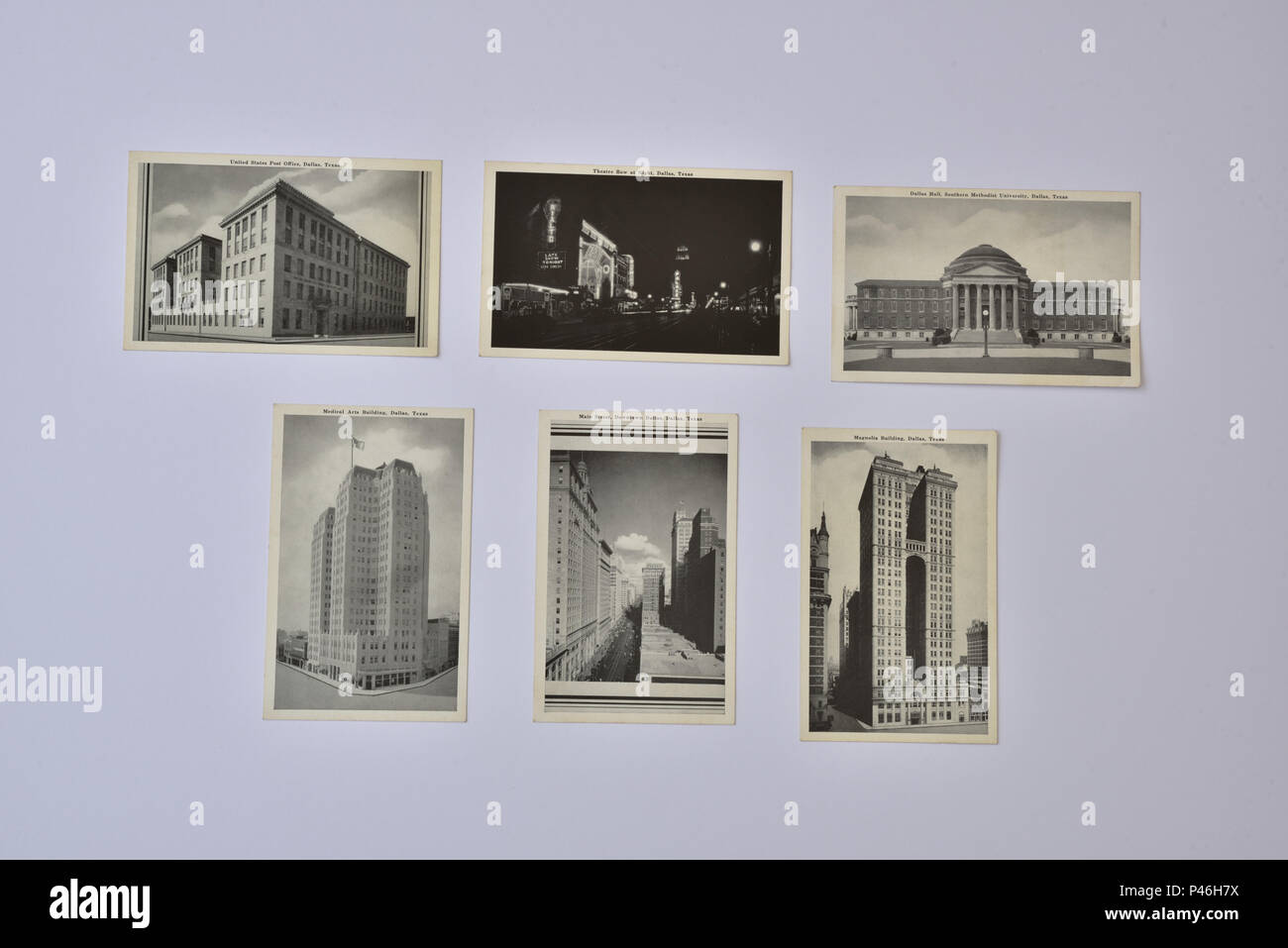 Photograph of six 1930's/1940's American postcards depicting various scenes in Dallas, Texas, in black and white photographs. - Stock Image