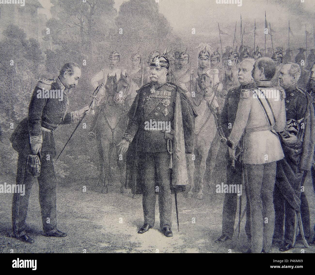 NAPOLEON III ENTREGA SU ESPADA AL REY DE PRUSIA 2/SEP/1870. - Stock Image