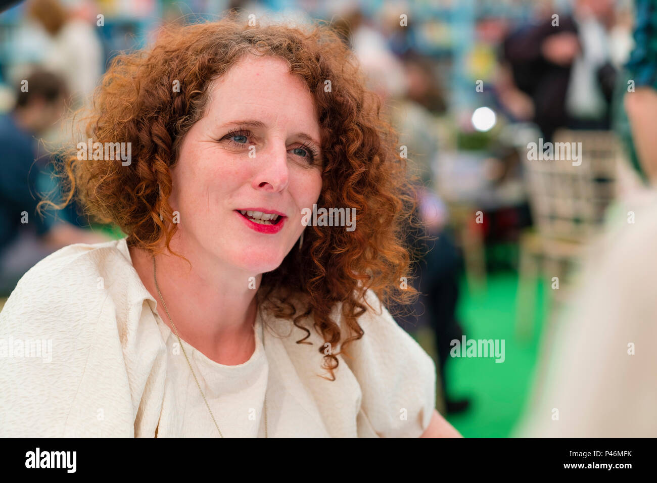 Maggie O'Farrell, Northern Irish novelist, writer, journalist  and critic,   Pictured  at the 2018 Hay Festival of Literature and the Arts.  The annual festival  in the small town of Hay on Wye on the Welsh borders , attracts  writers and thinkers from across the globe for 10 days of celebrations of the best of the written word, political though  and literary debate - Stock Image