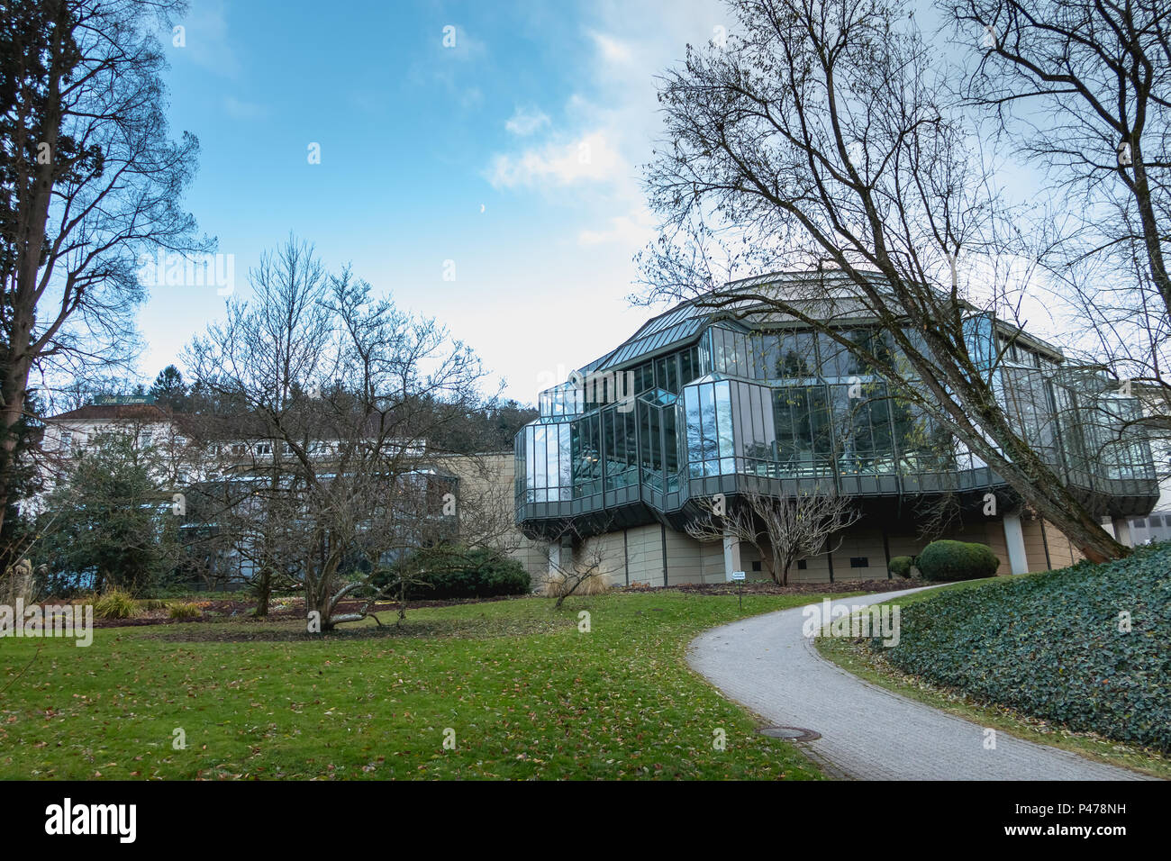 Badenweiler, Germany - December 24, 2017: Cassiopeia thermal baths architecture detail seen from the park on a winter day Stock Photo