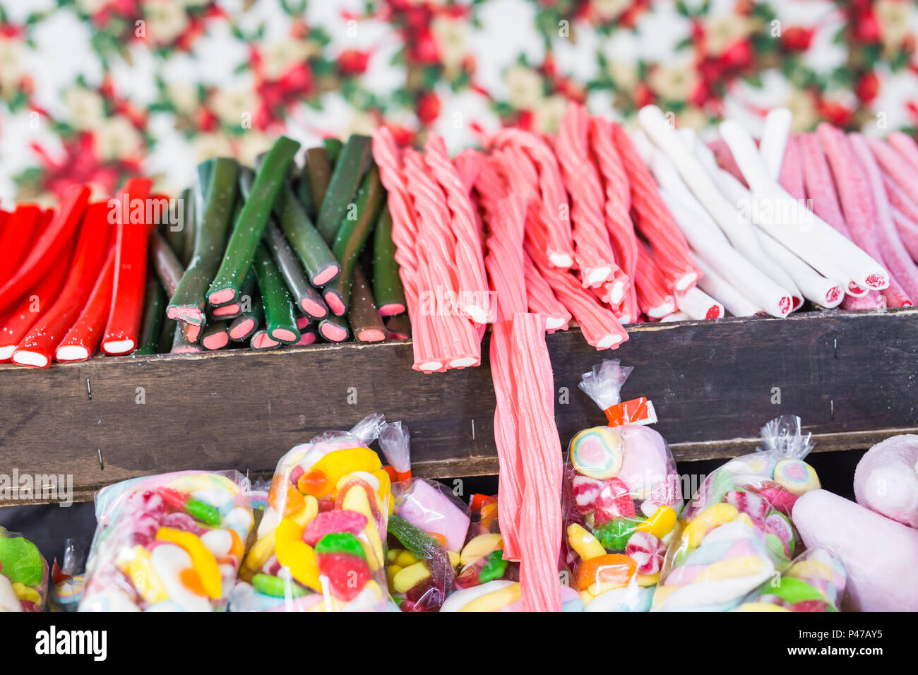 A perfect choice of wonderful sweets of any shape and colour - Stock Image