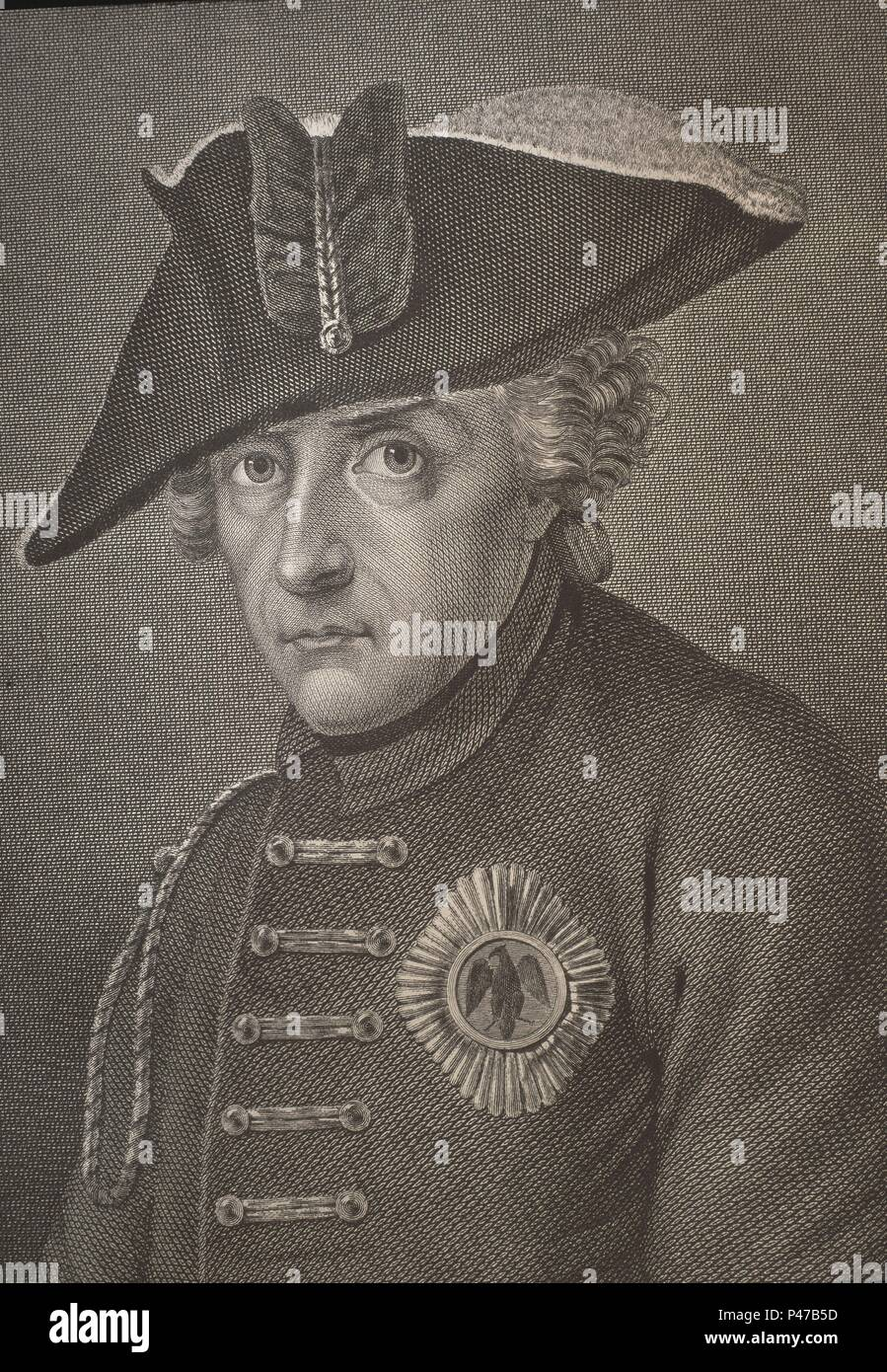 FEDERICO II EL GRANDE -(1712-1786) REY DE PRUSIA. Location: BIBLIOTECA NACIONAL-COLECCION, MADRID, SPAIN. - Stock Image