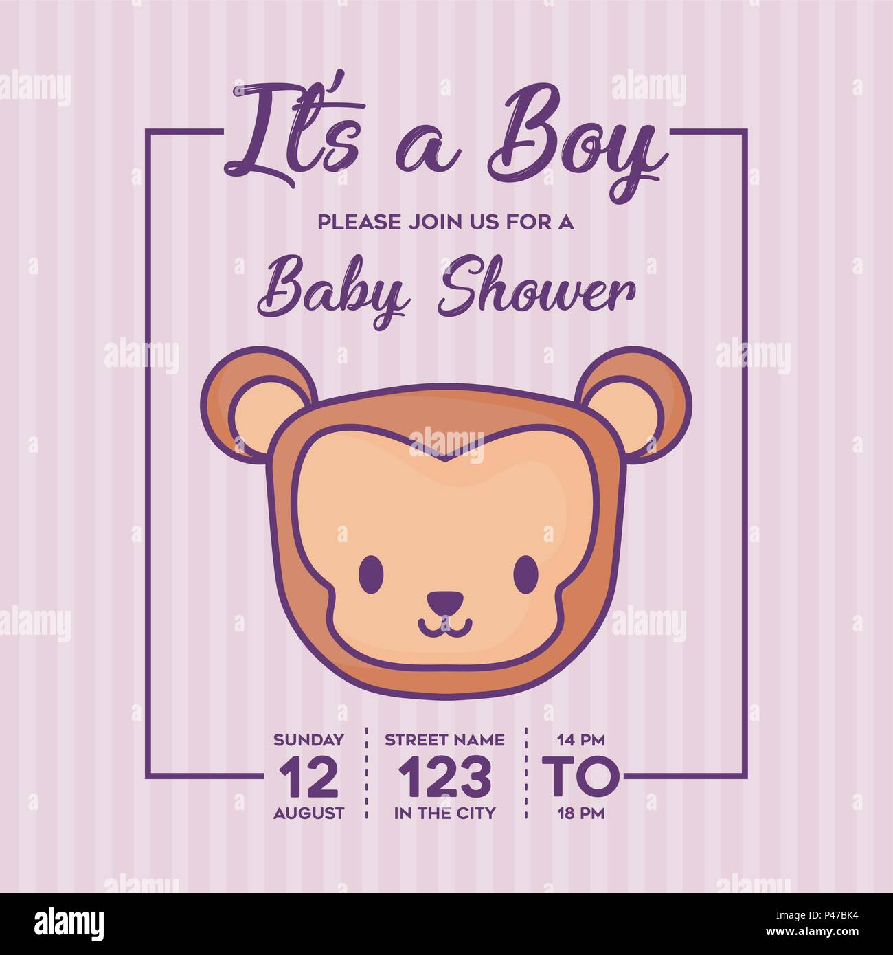 Its a boy Baby shower invitation with cute monkey icon over purple ...