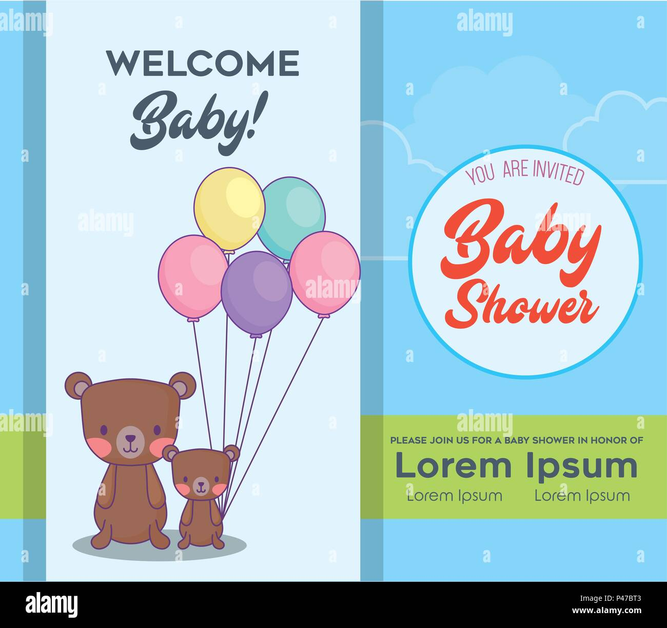 Baby Shower Invitation Card With Cute Bears With Balloons Over Blue
