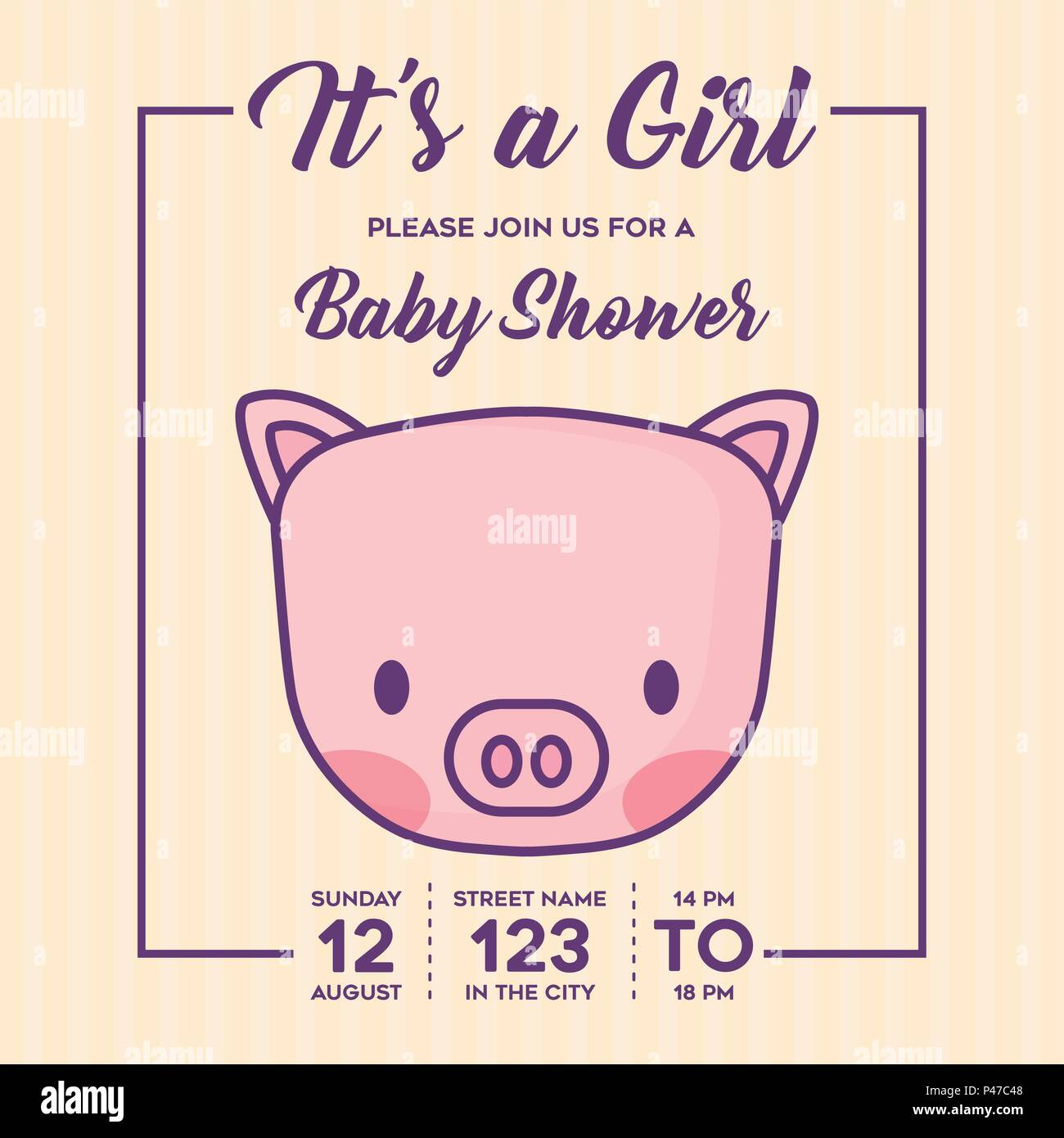 Its a girl Baby shower invitation with cute pig icon over yellow ...