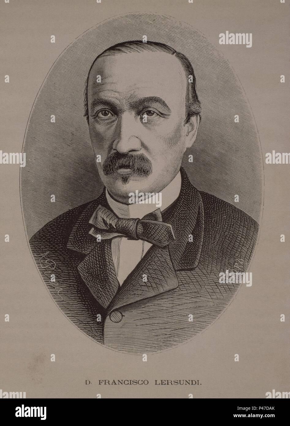 FRANCISCO LERSUNDI(1817-1874)CAPITAN GRAL EN LA 1ªGUERRA CUBA O DE LOS 10 AÑOS. Stock Photo