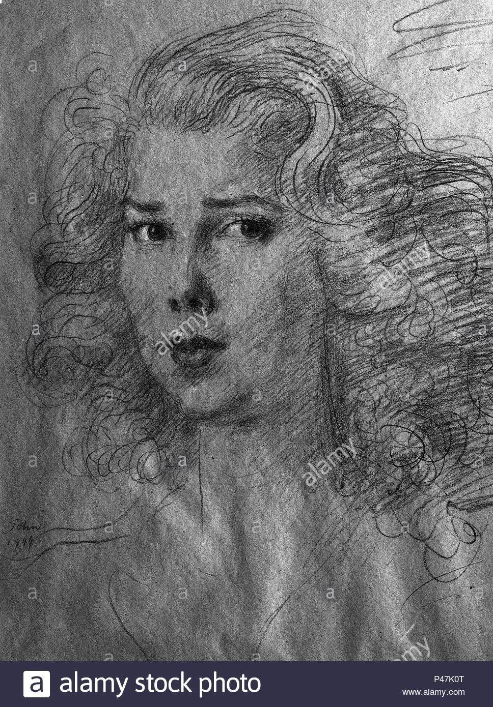 Duquesa De Montoro 1953 Dibujo Con Lapiz Carboncillo Papel
