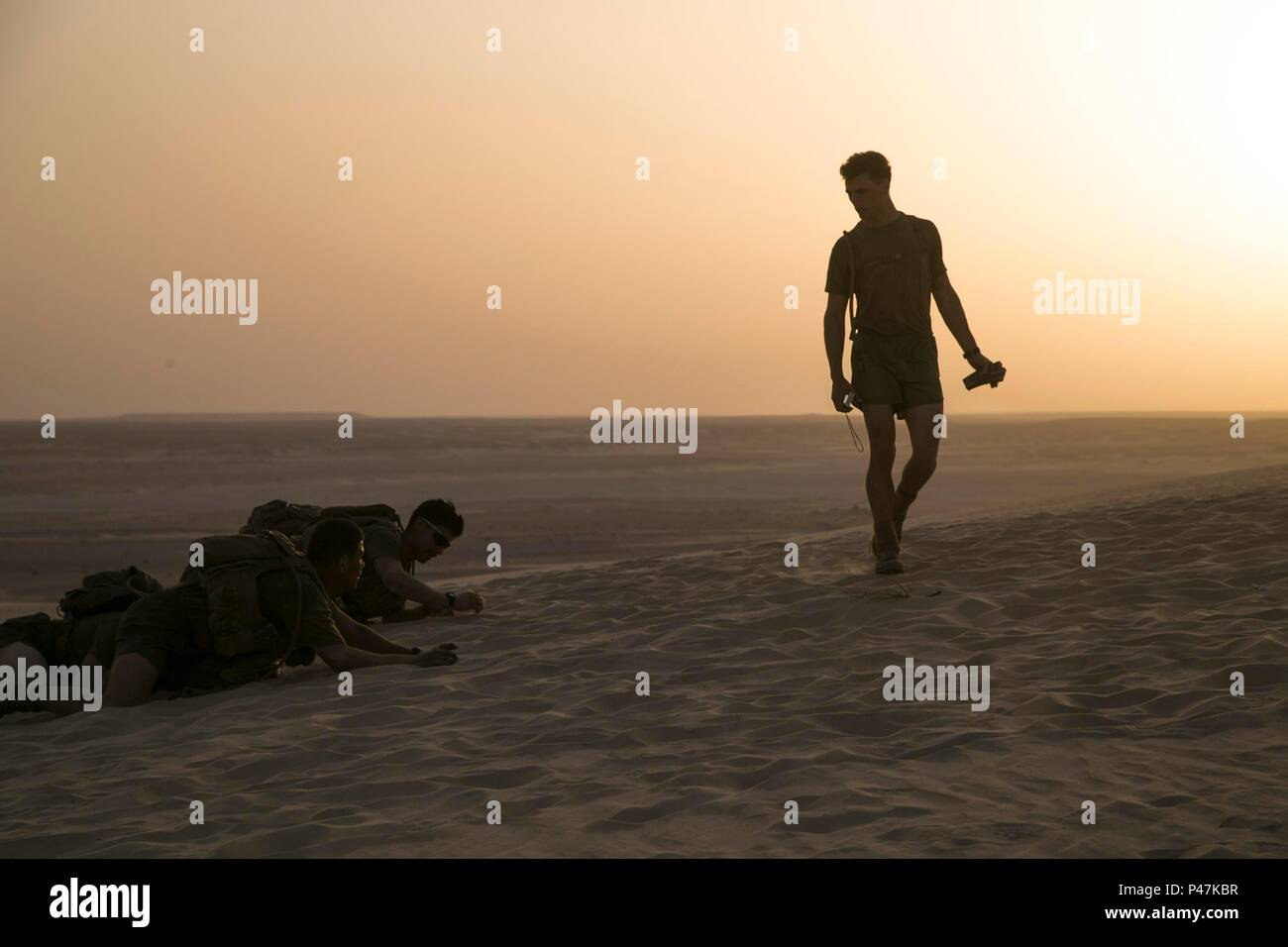 160621-M-KR317-259 U.S. 5TH FLEET AREA OF OPERATIONS (June 21, 2016) U.S. Marines with the 13th Marine Expeditionary Unit conduct physical training in between simulated missions during sustainment training. The 13th MEU is embarked on the Boxer Amphibious Ready Group and is deployed to maintain regional security in the U.S. 5th Fleet area of operations. (U.S. Marine Corps photo by Sgt. Briauna Birl/RELEASED) Stock Photo