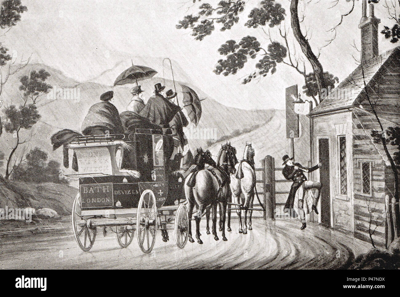 Waking a sleeping toll gate keeper, Circa 1830, - Stock Image