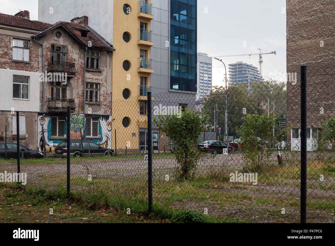 Sofia, Bulgaria, residential and business buildings and undeveloped land - Stock Image
