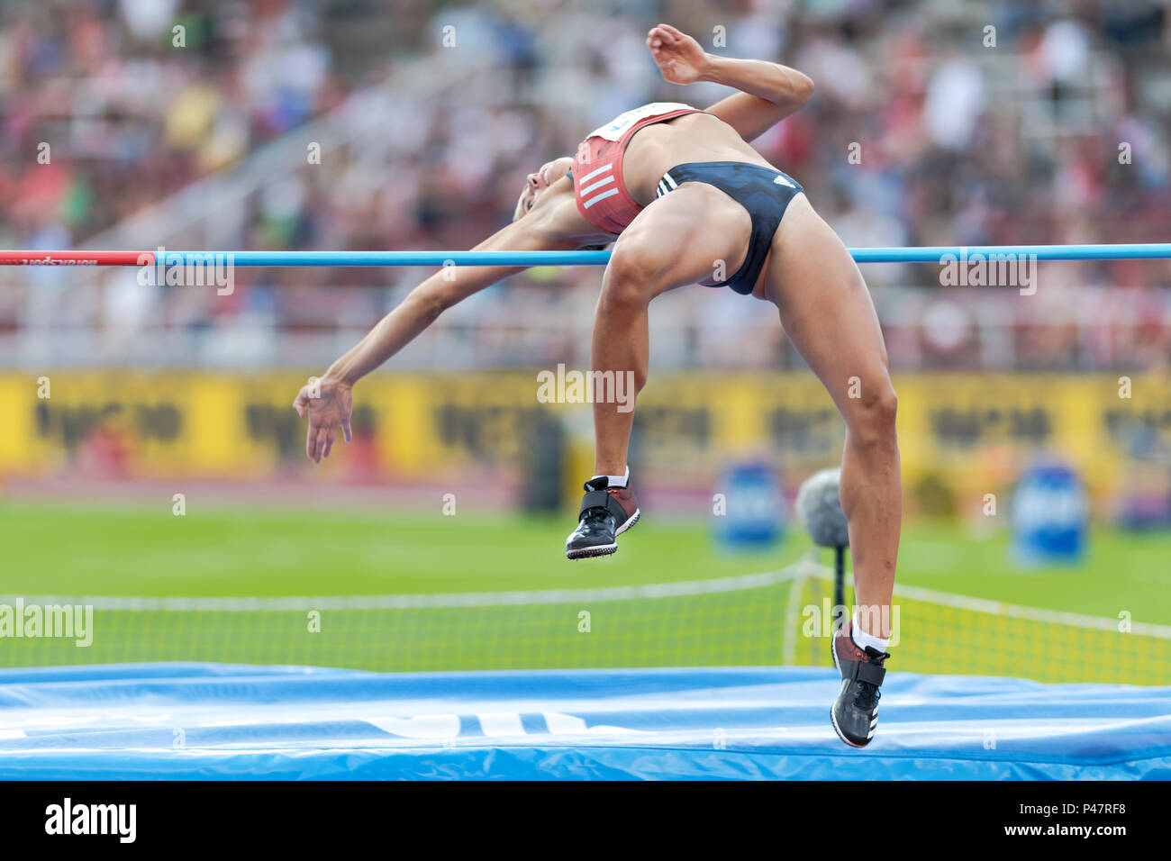 STOCKHOLM, SWEDEN, JUNE 10, 2018: Bianca Salming (SWE) at the Diamond league high jump event at Olympic arena Stockholm Stadion. - Stock Image