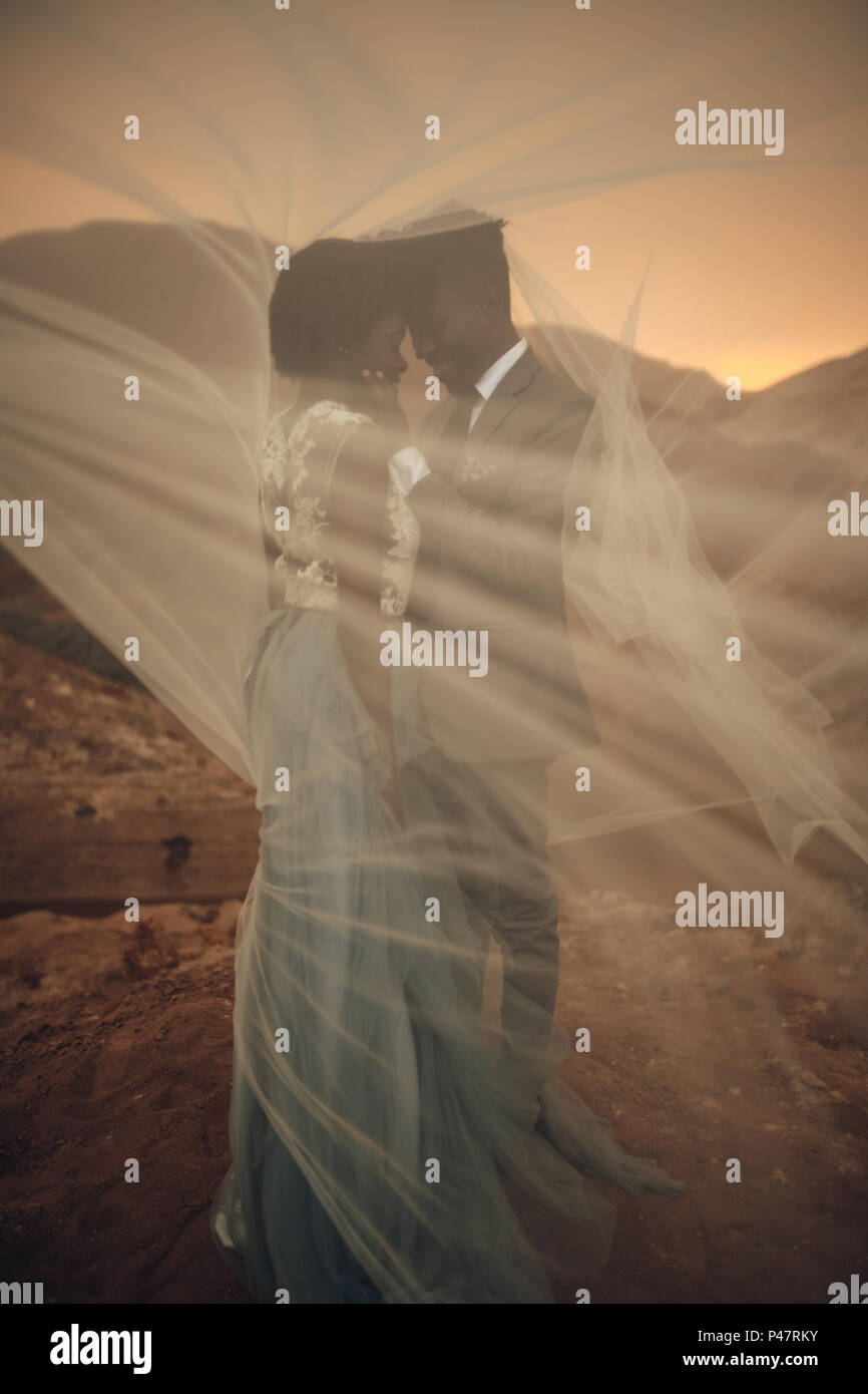 Black happy newlyweds stand under bridal veil and embrace in canyon against beautiful landscape at sunset. - Stock Image