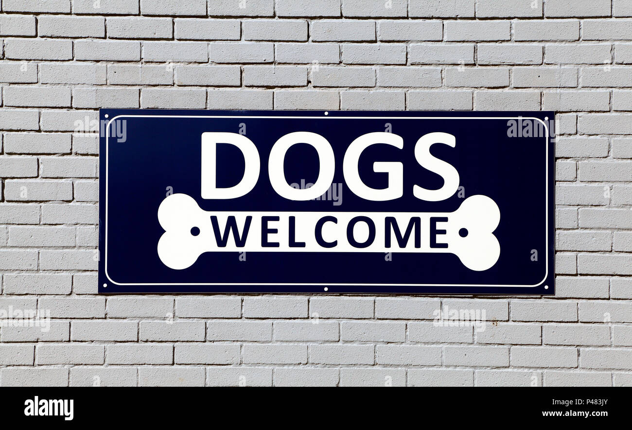 Dogs Welcome, sign, Hunstanton,  England, UK, cafe,signs - Stock Image