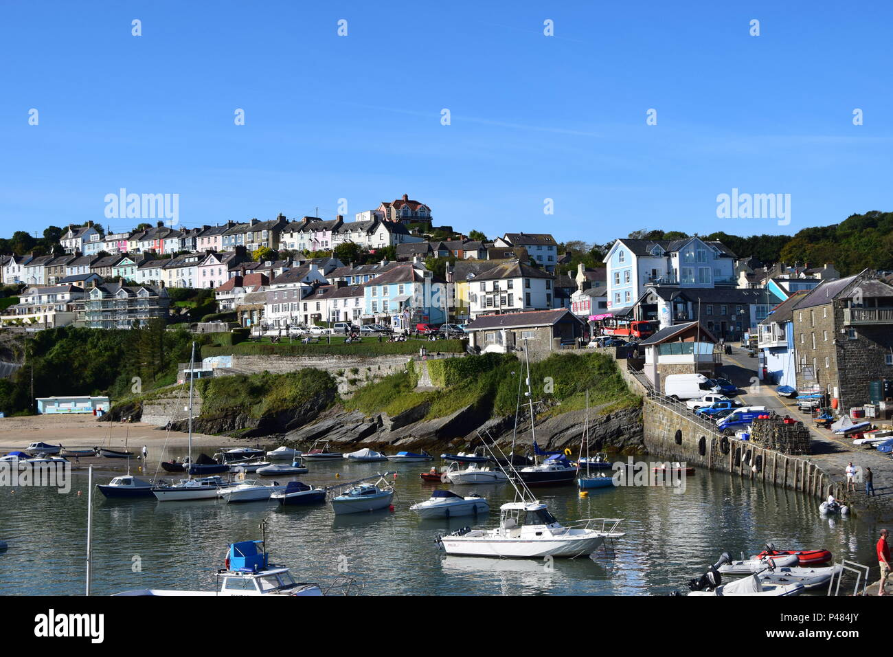 Quaint quayside at New Quay Wales - Stock Image