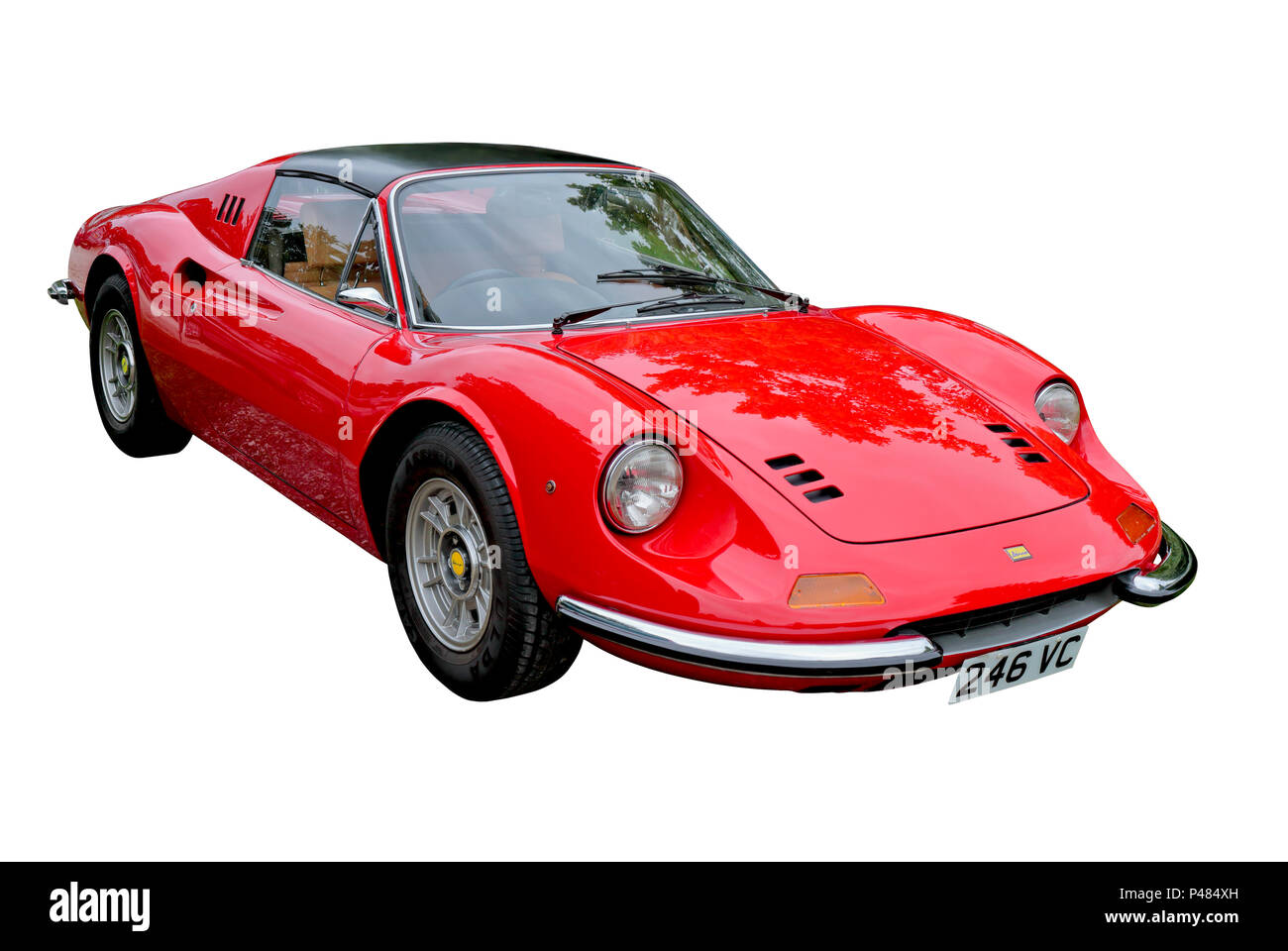 Bright red Ferrari Dino isolated on a white background - Stock Image