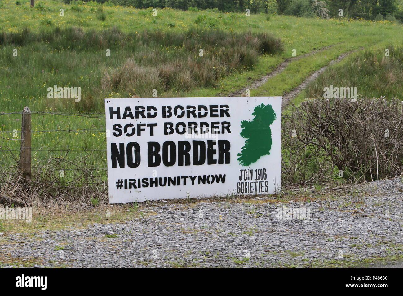 Ireland, UK, 2 June 2018. Irish Unity Hard Soft No Border sign at edge of road near Irish border and important to ongoing Brexit negotiations. - Stock Image