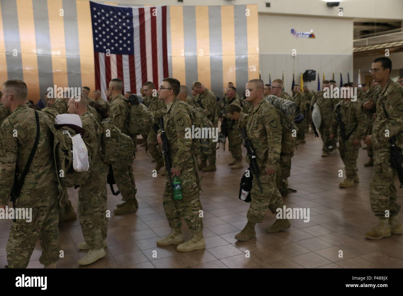 Soldiers Assigned To The 312th And The 461st Engineer Companies Both Army Reserve Units Are Processed Weighed And Manifested Prior To Boarding A Flight To U S Central Command For A Deployment In