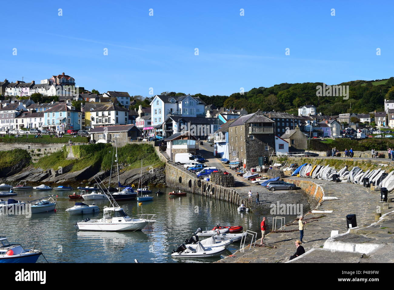 Picturesque fishing village at New Quay Wales - Stock Image