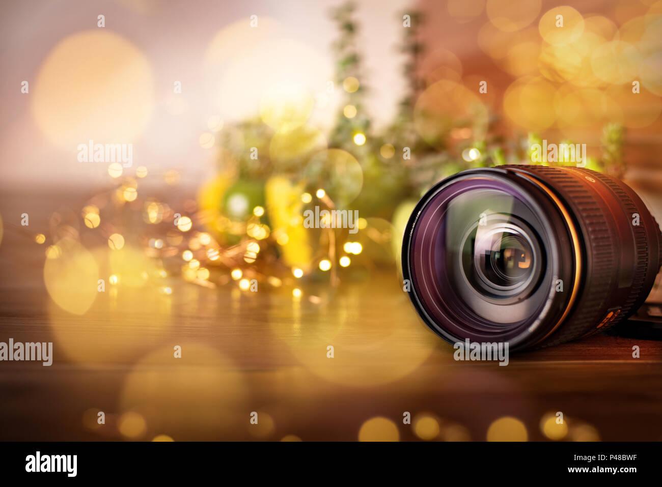 Nikon lens with light bokeh - Stock Image