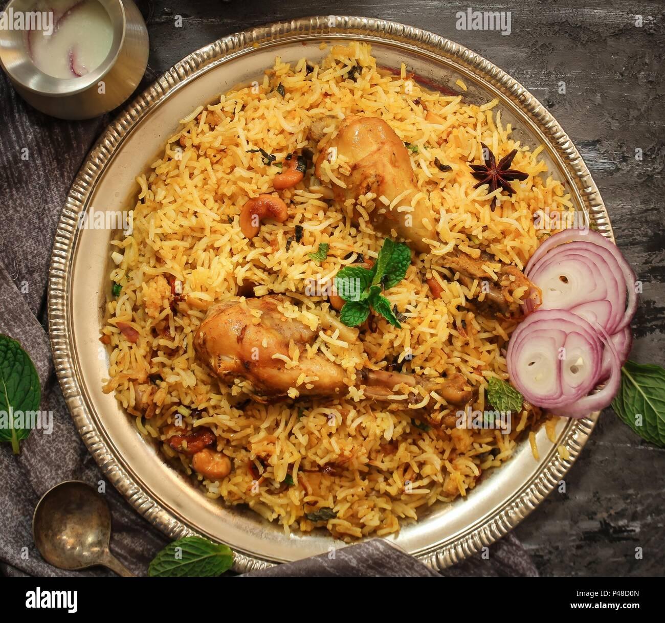 Chicken Kabsa Homemade Arabian Biryani Overhead View Stock Photo Alamy