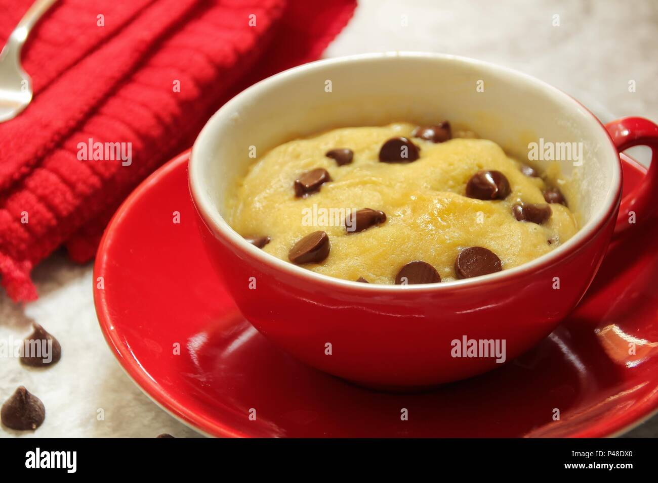 Microwave Chocolate Chip Mug Cookie In A Red Cup Valentines Day Dessert Selective Focus Stock Photo Alamy