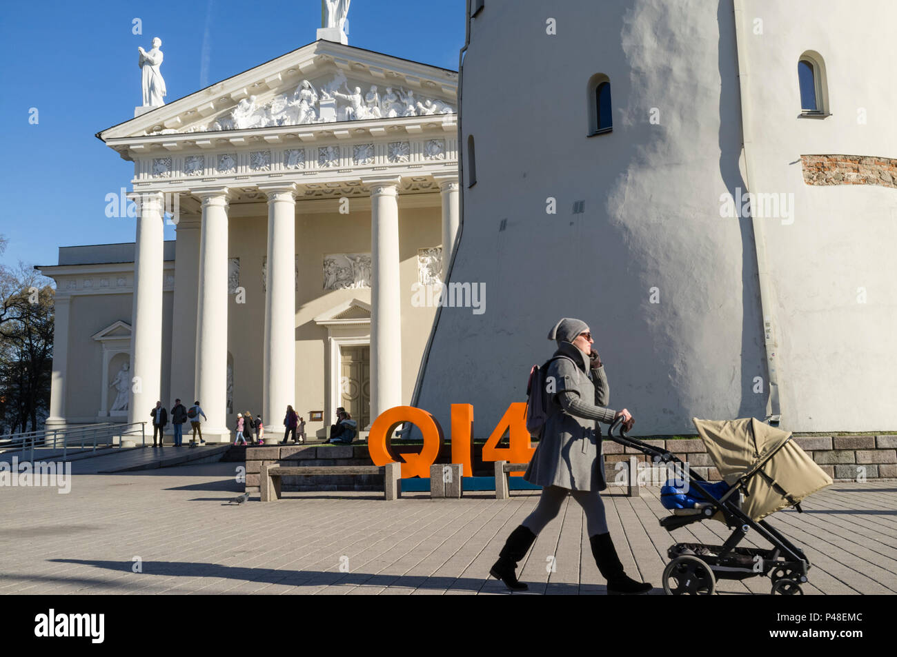 People at Cathedral Square, Vilnius, Lithuania, Europe - Stock Image