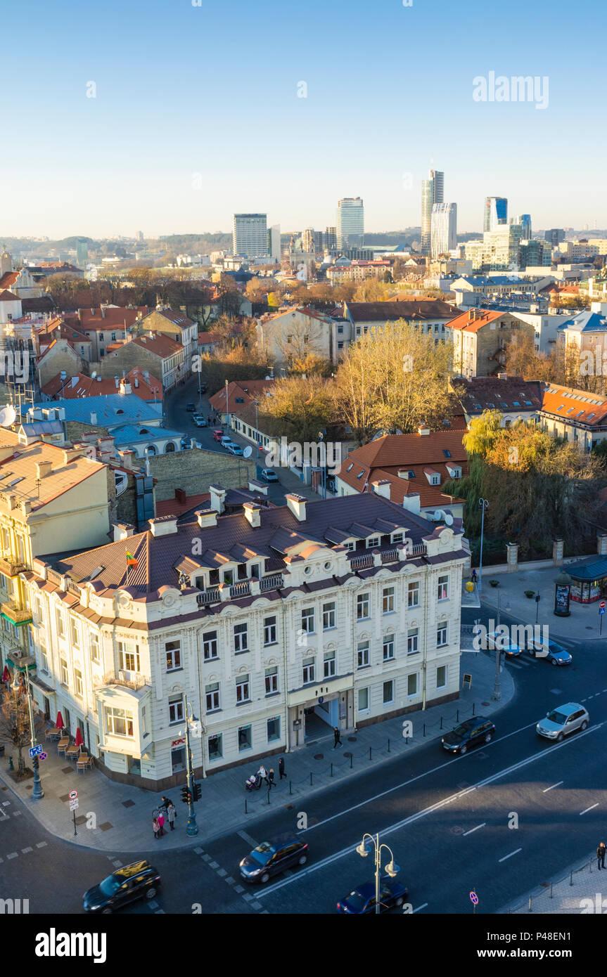 Vilnius old town and Snipiskes district. Vilnius, Lithuania, Europe - Stock Image