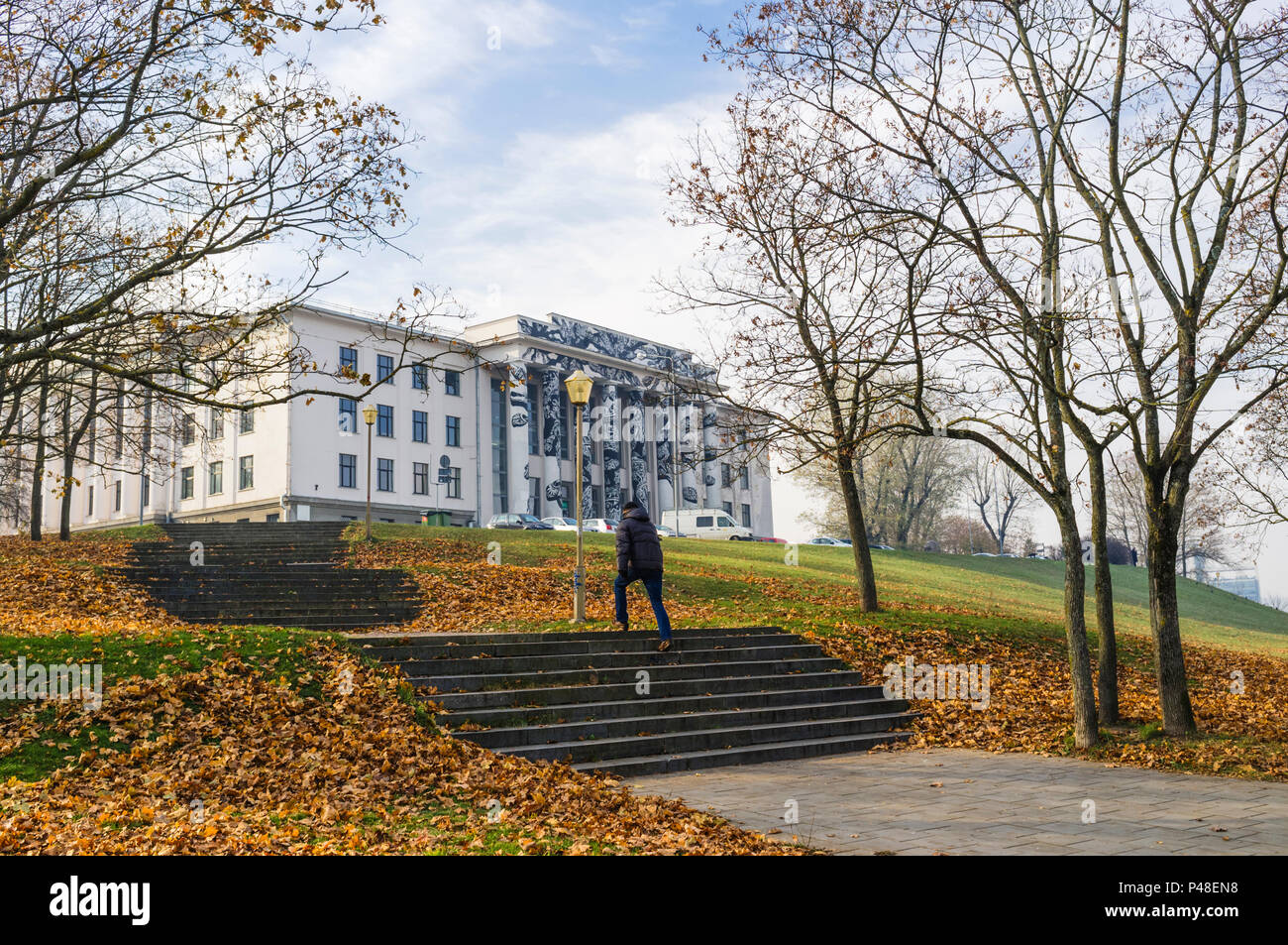 Former Workers Union Building on Tauras Hill, Vilnius, Lithuania, Europe - Stock Image