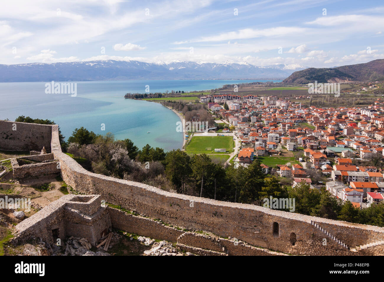 Ohrid, Republic of Macedonia : Overview of the Unesco listed Ohrid old town and lake as seen from Samuel's Fortress. Built on the site of an earlier 4 - Stock Image