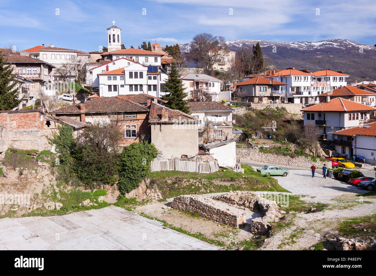 Ohrid, Republic of Macedonia : Overview of the Unesco listed old town of Ohrid. Stock Photo