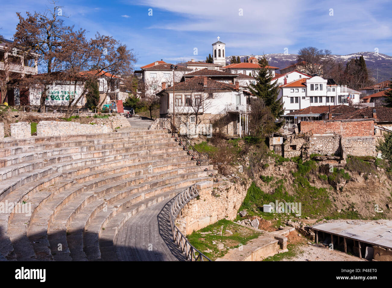 Ohrid, Republic of Macedonia : Ancient Theatre of Ohrid built in 200 BC in the Unesco listed old town of Ohrid. - Stock Image