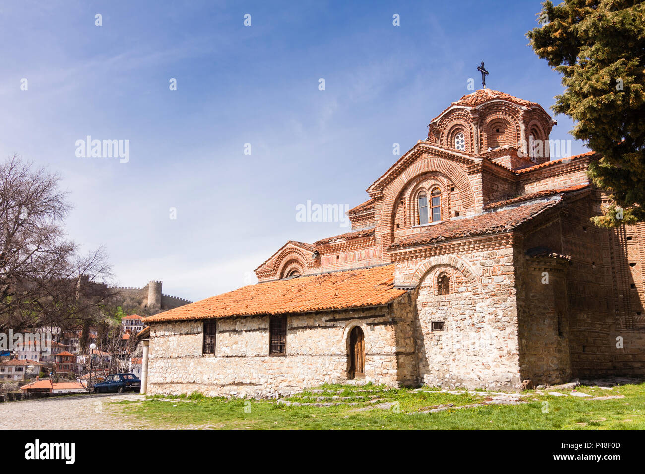 Ohrid, Republic of Macedonia : Holy Mother of God Peribleptos (1295),  one of the oldest churches in the Unesco listed old town of Ohrid - Stock Image