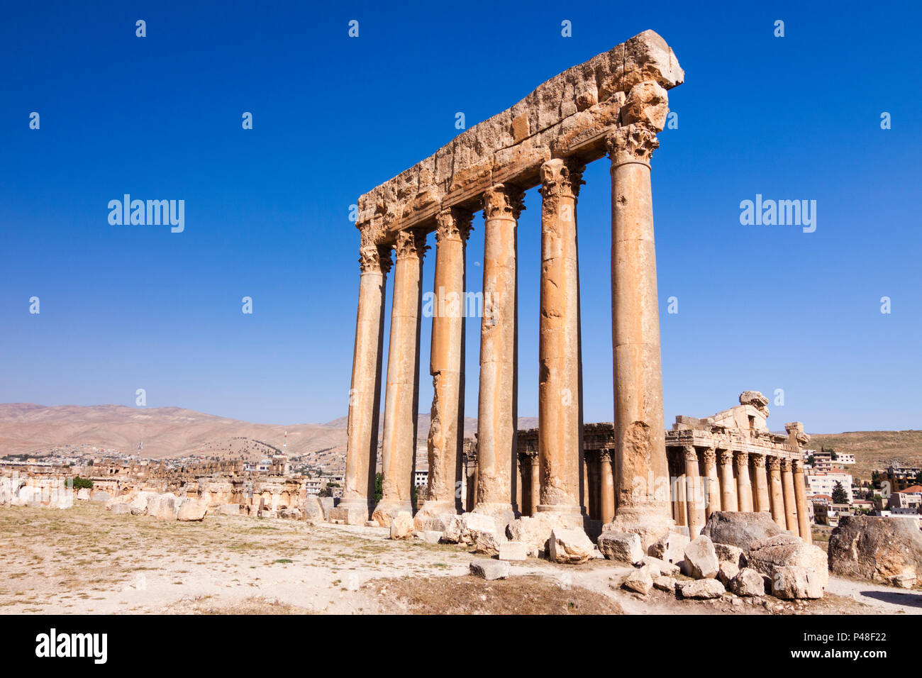 Baalbek, Lebanon : Unesco World Heritage site of the ruins of the temples of Jupiter and Bacchus (150 AD to 250 AD) at Baalbek Roman Heliopolis. - Stock Image