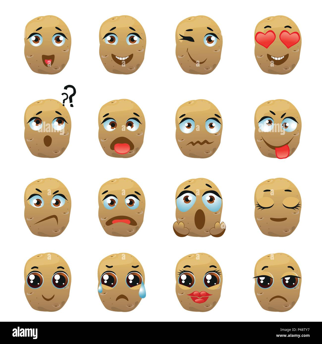Set of vector stickers, emojis with cute potato Stock Vector
