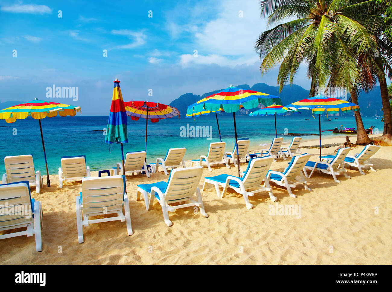 Tropical beach, Phi-Phi Islands, Andaman Sea, Thailand - Stock Image