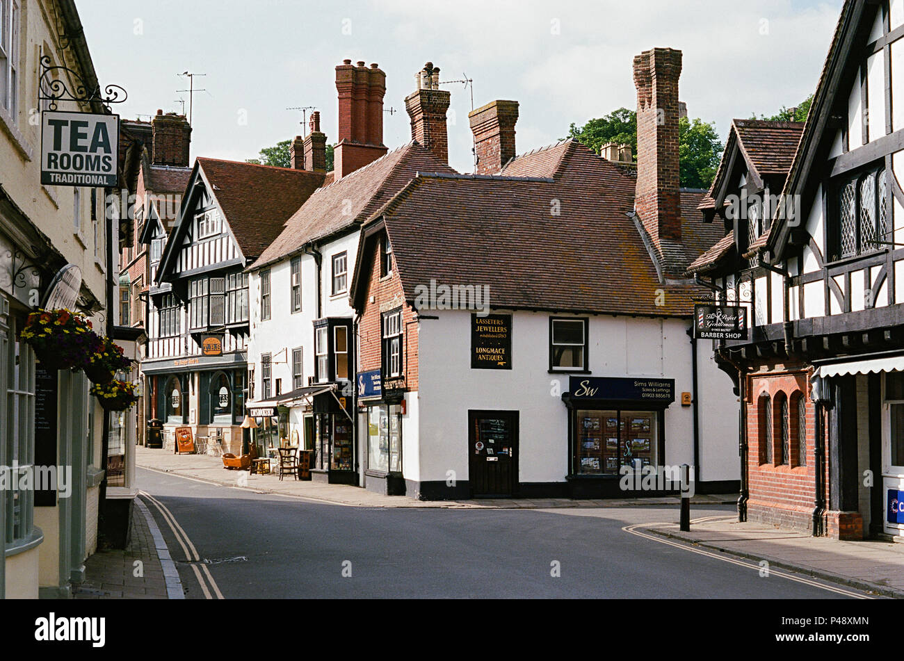 Buildings on the High Street at Arundel, West Sussex, Southern England - Stock Image
