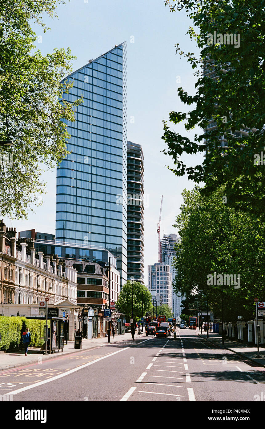 City Road, Islington London UK, looking towards the new Chronicle Tower  and other new apartment buildings - Stock Image