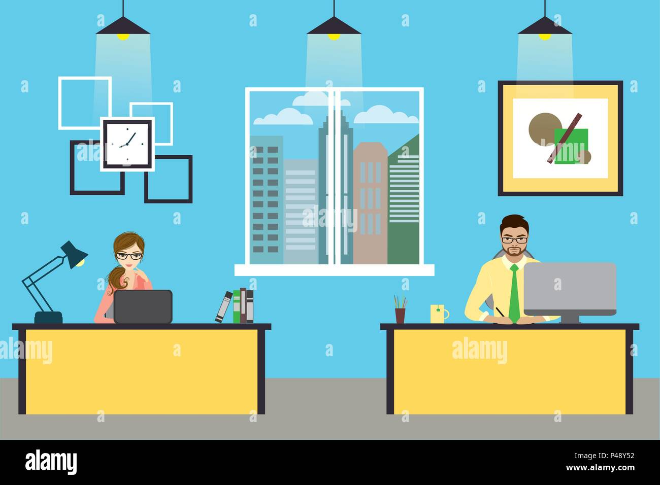 Cartoon Banner Of Two Office Workers The Young Woman And Man Is An Employees At Work Vector Flat Illustration Stock Vector Image Art Alamy