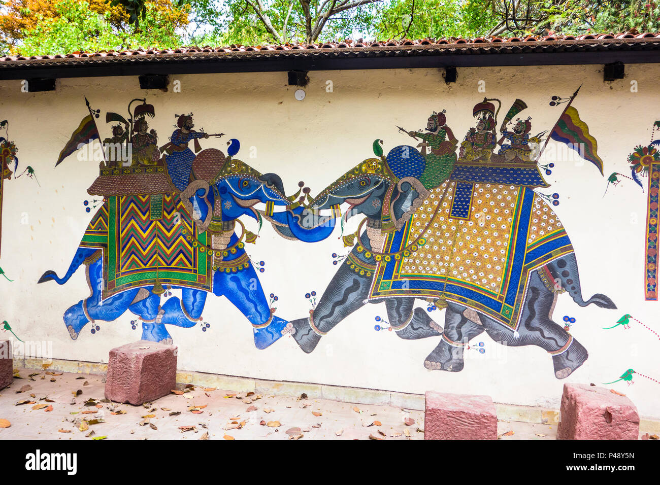 Exhibit of a Shekhavati painting with two nobles on caparisoned elephants engaging in battle in the National Crafts Museum, New Delhi, India Stock Photo
