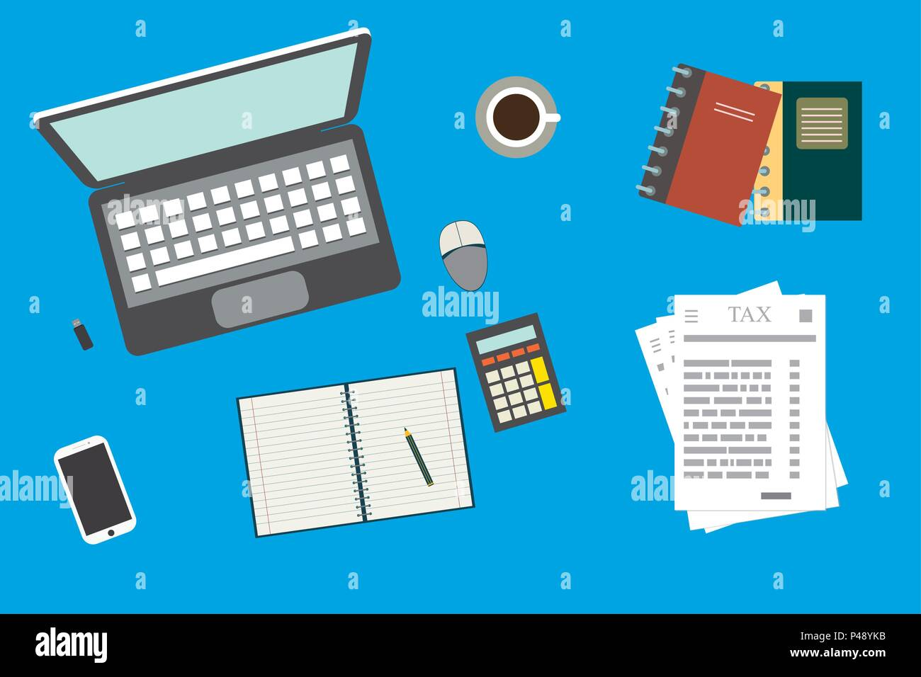 analytic research tax report on paper sheets work desktop top view