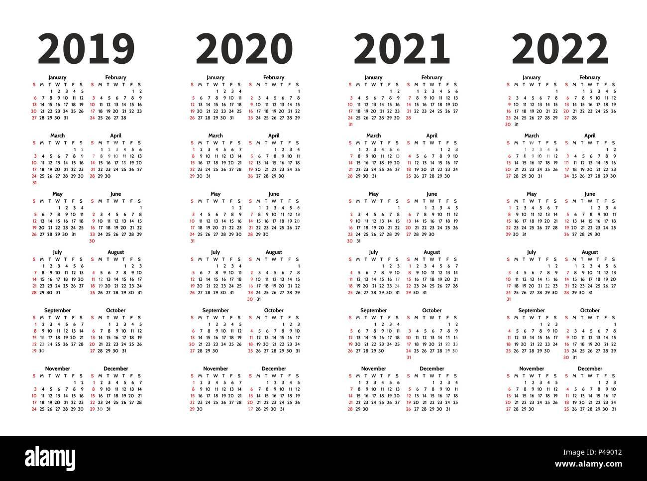 Calendario 2019 Con Numero Week.Calendar 2019 2020 2021 And 2022 Year Vector Design