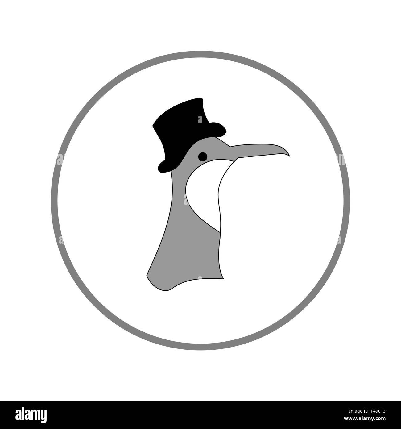 A cartoon bird with a big beak and a hat. - Stock Image